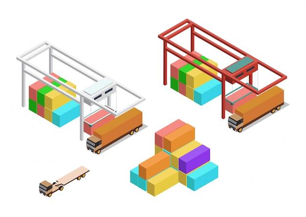 Izometryczny dźwig z kontenerem i ciężarówką