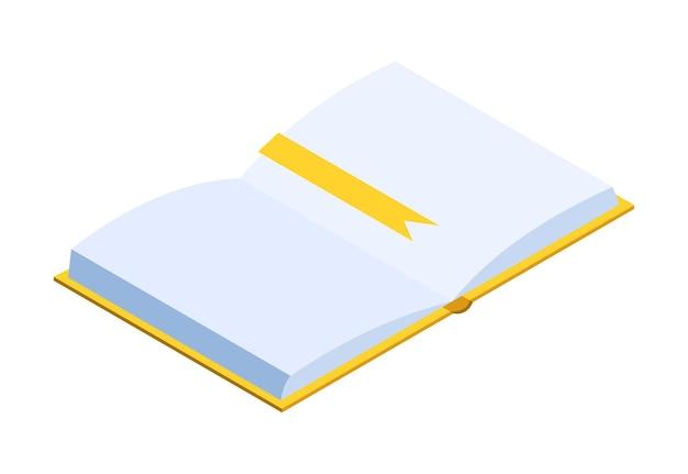 Izometryczny edukacji offline z książką. klasyczna nauka w domu dla studenta