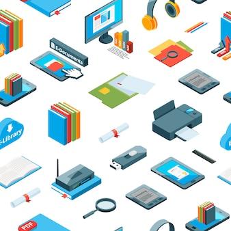 Izometryczny edukacji online ikony wzór lub tła