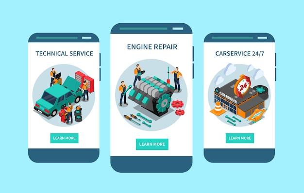 Izometryczny ekran mobilnej aplikacji obsługi technicznej samochodu z całodobowym dostępem do naprawy silnika