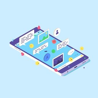 Izometryczny ekran telefonu komórkowego smartfon aplikacja internetowa cyfrowa mowa