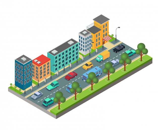 Izometryczny element drogi miejskiej z budynkami i samochodami w korku na białym tle.