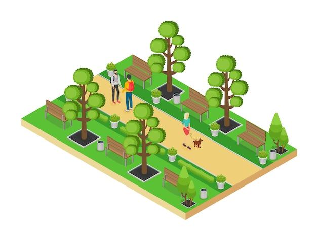 Izometryczny element zielonego parku z aleją i ludzi chodzących na białym tle