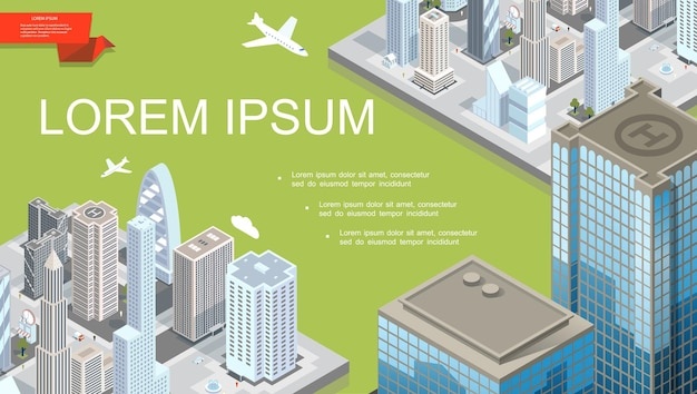 Izometryczny futurystyczny szablon krajobrazu miasta z nowoczesnymi budynkami latającymi samolotem i lądowiskiem dla helikopterów na dachu ilustracji wieżowca