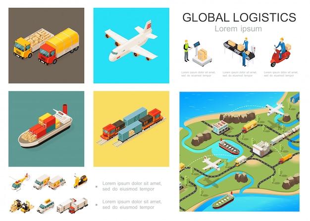 Izometryczny globalny skład logistyczny z ciężarówkami samolot statek pociąg helikopter skuter samochody wózki widłowe pakowanie przenośnik taśmowy światowa sieć dystrybucji kurierów
