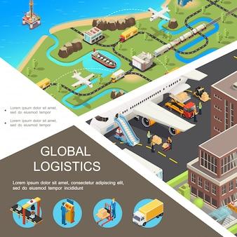 Izometryczny globalny skład logistyczny z międzynarodową siecią transportową, samoloty, pociąg, ciężarówki, statek, samolot, proces załadunku, pracownicy magazynu linii montażowej