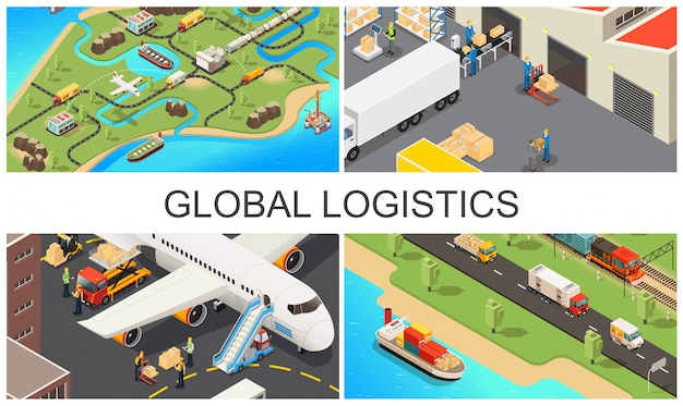 Izometryczny globalny skład transportu ze światową siecią logistyczną pojazdów pracowników magazynu samolotów i procesu ładowania ciężarówki
