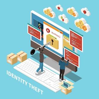 Izometryczny haker łowiący przestępczość cyfrową skład elementów ilustracji