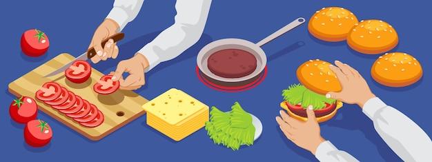 Izometryczny hamburger co baner ze składnikami sałatki mięsnej bułka serowa i proces cięcia pomidorów na białym tle