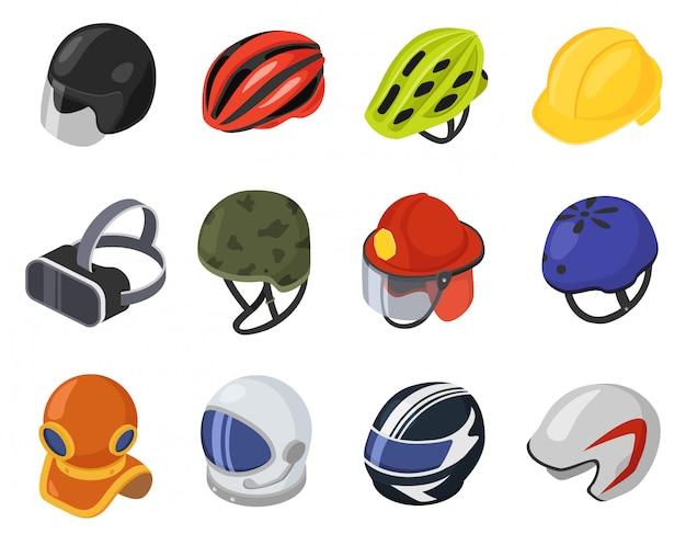 Izometryczny hełm ilustracja, kreskówka 3d kask bezpieczeństwa, ochrona głowy, zestaw ikon kask vr na białym tle