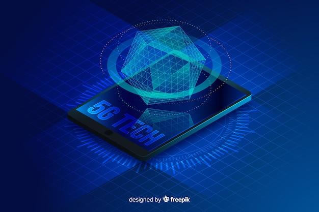 Izometryczny hologram 5g koncepcja tło