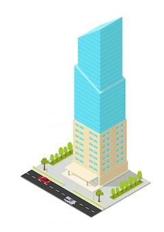 Izometryczny hotel, apartament, biuro lub wieżowiec