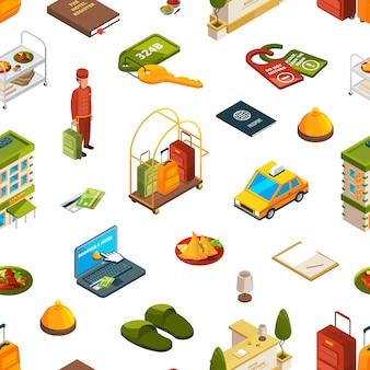 Izometryczny hotelowy wzór ikon lub ilustracja