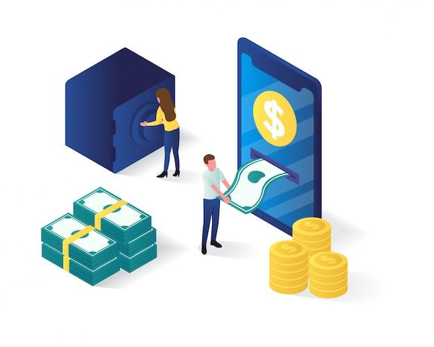 Izometryczny ilustracja bankowości internetowej