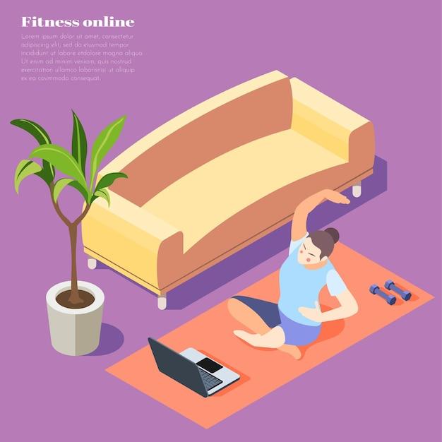 Izometryczny ilustracja fitness online z kobietą robi ćwiczenia jogi na laptopie