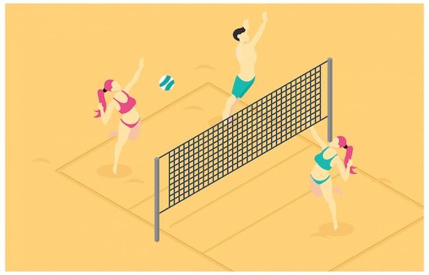 Izometryczny ilustracja gry siatkówki plażowej