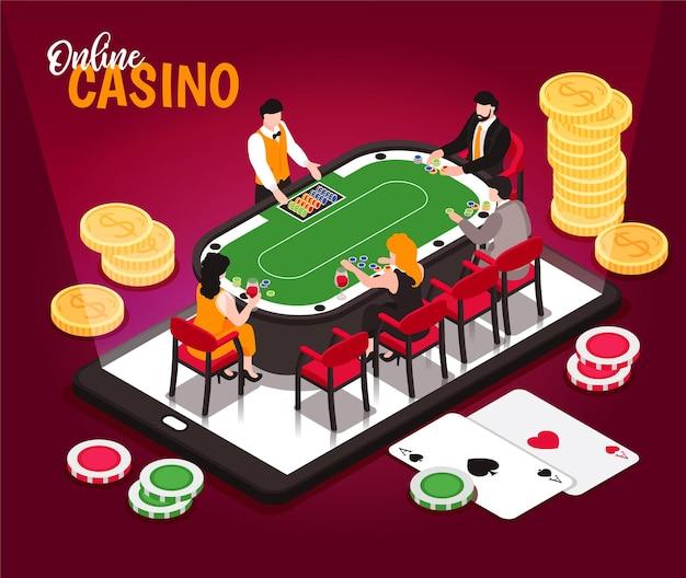Izometryczny ilustracja konceptualna kompozycja kasyna online