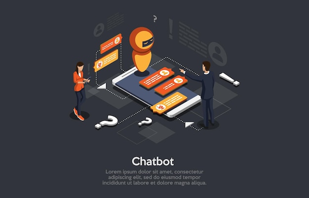 Izometryczny ilustracja kreskówka 3d styl projektowania z elementami i ludźmi nowoczesne. automatyczny program odpowiadający za pomocą chatbota