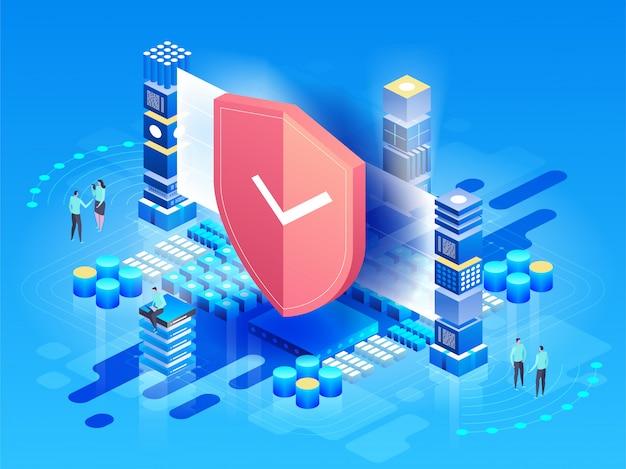 Izometryczny ilustracja nowoczesne technologie, bezpieczeństwo i ochrona danych, bezpieczeństwo płatności