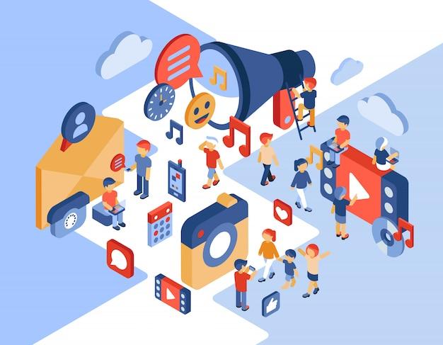 Izometryczny ilustracja sieci społecznościowych i komunikacji