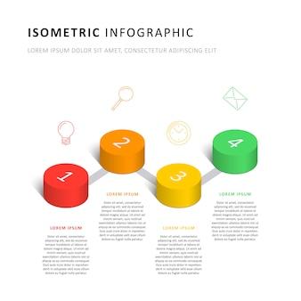 Izometryczny infographic osi czasu szablon z realistycznymi 3d cylindrycznymi elementami i ikonami marketingu