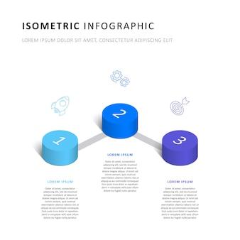Izometryczny infographic osi czasu szablon z realistycznymi 3d cylindrycznymi elementami i ikonami marketingu.