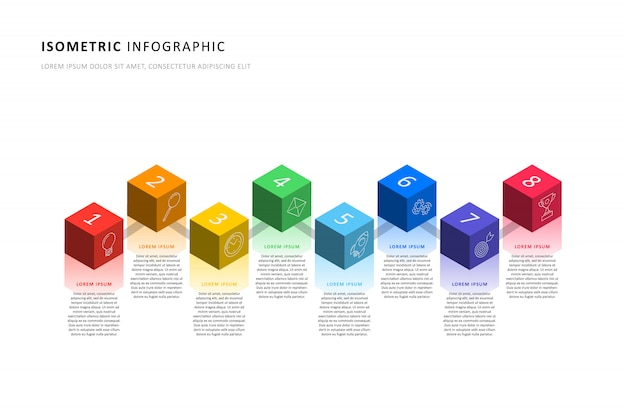Izometryczny infographic osi czasu szablon z realistycznymi 3d elementami sześciennymi. nowoczesny schemat procesu biznesowego