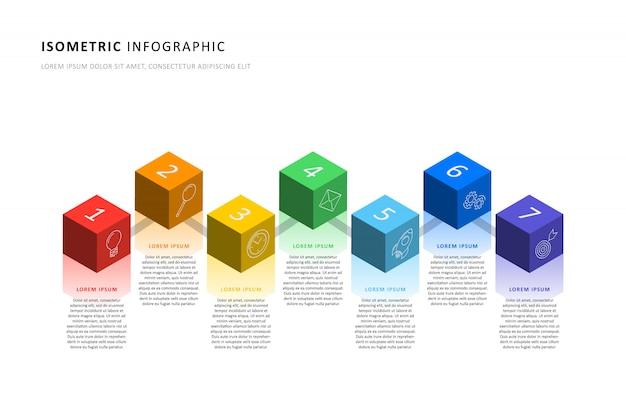 Izometryczny infographic osi czasu szablon z realistycznymi 3d elementami sześciennymi.