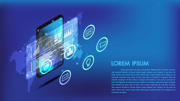Izometryczny inteligentny telefon lub tablet 3d interfejs
