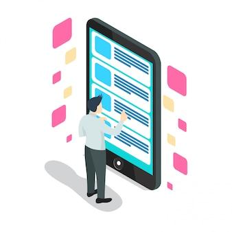 Izometryczny inteligentny telefon z listami kontrolnymi