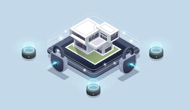 Izometryczny interfejs technologii inteligentnego domu na ekranie aplikacji smartfona z widokiem ar w rzeczywistości rozszerzonej.