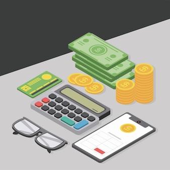 Izometryczny kalkulator pieniędzy