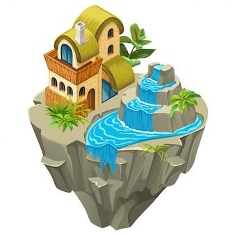 Izometryczny kamienny budynek na wyspie.