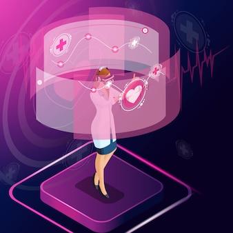 Izometryczny kardiolog diagnozuje chorobę, przepisuje leki do leczenia, monitoruje leczenie pacjenta, przegląda testy, pracuje z wysokimi technologiami