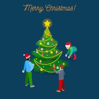 Izometryczny kartka z życzeniami wesołych świąt z choinką i dziećmi. ilustracja