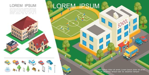 Izometryczny kolorowy koncepcja miasta z budynkiem szkolnym boisko do piłki nożnej transportu podmiejskich domów parkowych elementów ilustracji