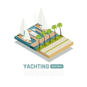 Izometryczny, kolorowy koncept żeglarski z trzema jachtami zacumowanymi przy przystani i palmami