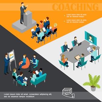 Izometryczny kolorowy szablon coachingu biznesowego z biznesmenem przemawiającym na szkoleniu online personelu podium, a personel bierze udział w konferencji