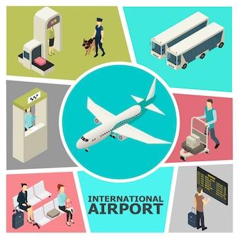 Izometryczny kolorowy szablon lotniska z niestandardową kontrolą odprawy pasażerów w poczekalni autobusy na pokładzie samolotu odlotów