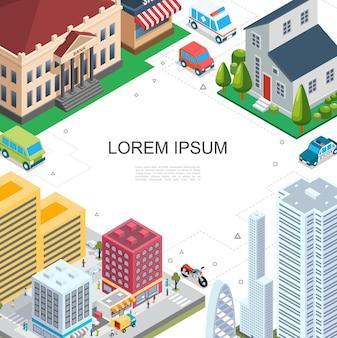 Izometryczny kolorowy szablon pejzaż miejski z nowoczesnymi budynkami bankowymi wieżowcami osiedle na ulicy policja karetka samochody motocykl autobus ilustracja