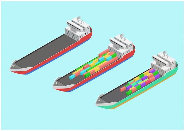 Izometryczny komercyjny statek towarowy