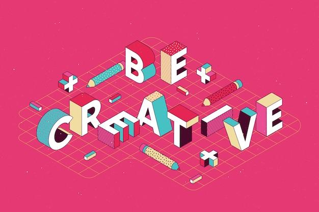 Izometryczny komunikat typograficzny
