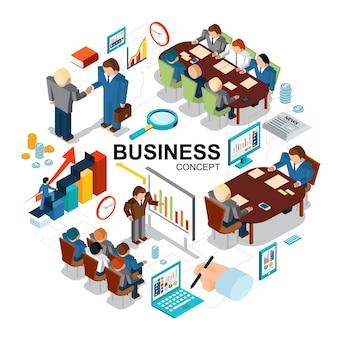 Izometryczny koncepcja biznesowa z lupą wykresy zegar monety tablet komputer laptop prezentacja biznesowa negocjacje konferencja spotkanie ilustracja