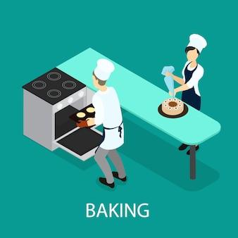 Izometryczny koncepcja pieczenia
