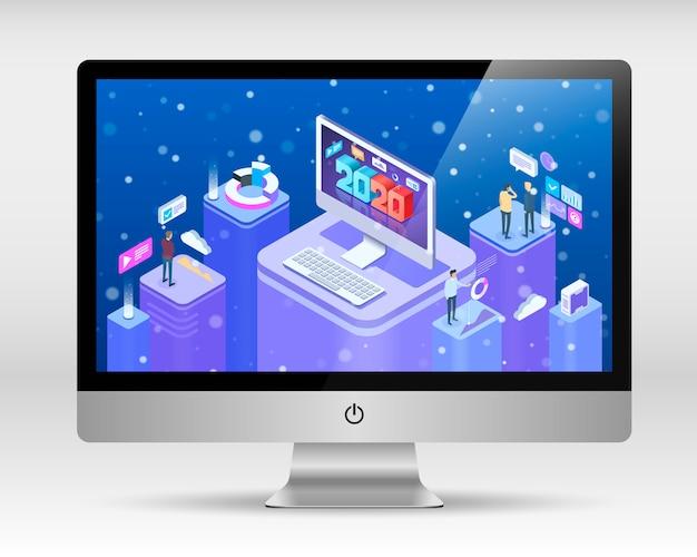 Izometryczny koncepcja pozdrowienia szczęśliwego nowego roku 2020 na ekranie komputera