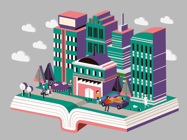 Izometryczny koncepcji miasta wiedzy
