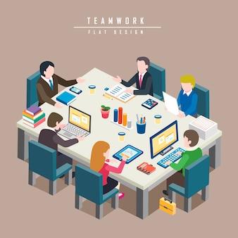 Izometryczny koncepcji pracy zespołowej