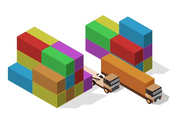 Izometryczny kontener i ciężarówka ładunkowa