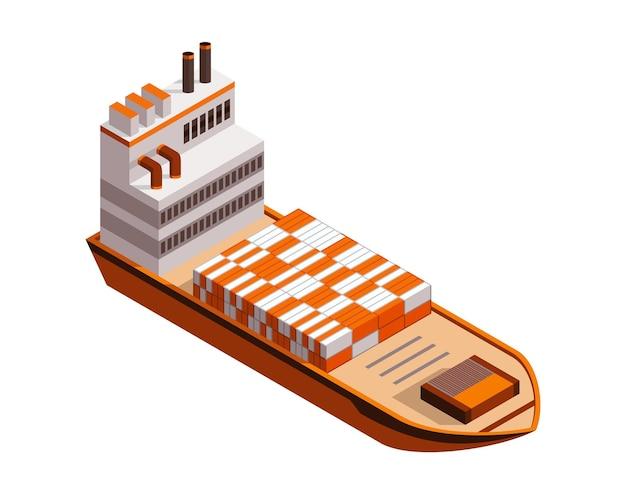 Izometryczny kontenerowiec. dostawa na wodzie. wysyłka transport towarowy.