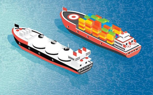 Izometryczny kontenerowiec towarowy i statek transportowy lng